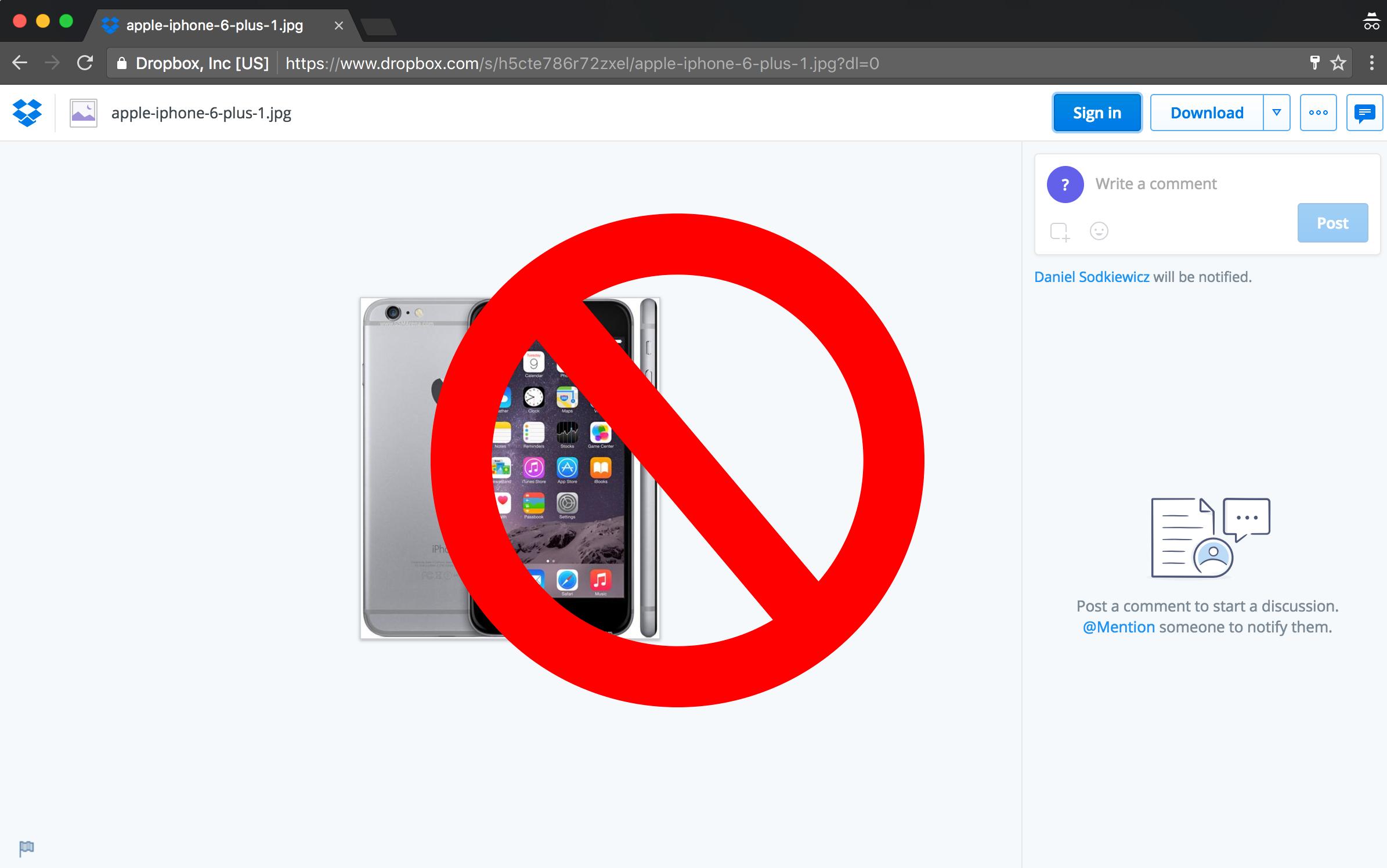 dropbox link download iphone