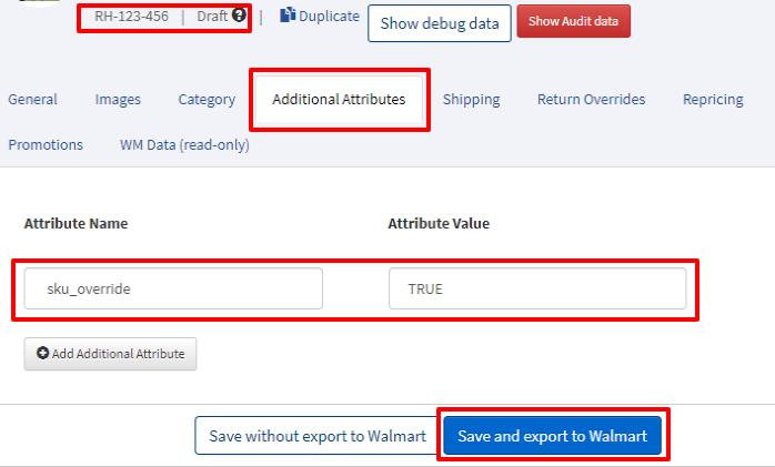 Walmart SKU update